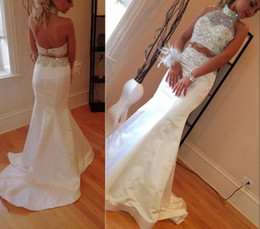 Wholesale 2 Piece Prom Dresses Elegant Mermaid White Beading Bodice Two Pieces Dress Halter Satin Evening Dresses For Teens