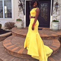 africa photos - South Africa Two Piece Prom Dresses Yellow Colored Lace Tank Formal Evening Dresses Sexy Prom Dresses Mermaid Style Party Gowns LA