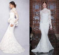 Wholesale berta Full Lace Wedding Dresses New High Neck Lace Floor length Long Sleeves Mermaid Trumpet White Wedding Dresses with Peplum
