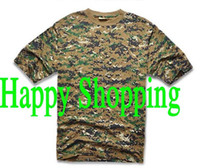 Wholesale Men Summer Short Sleeve Cotton Tactical T Shirt Outdoor Camping Sports T shirts Digital woodland camo