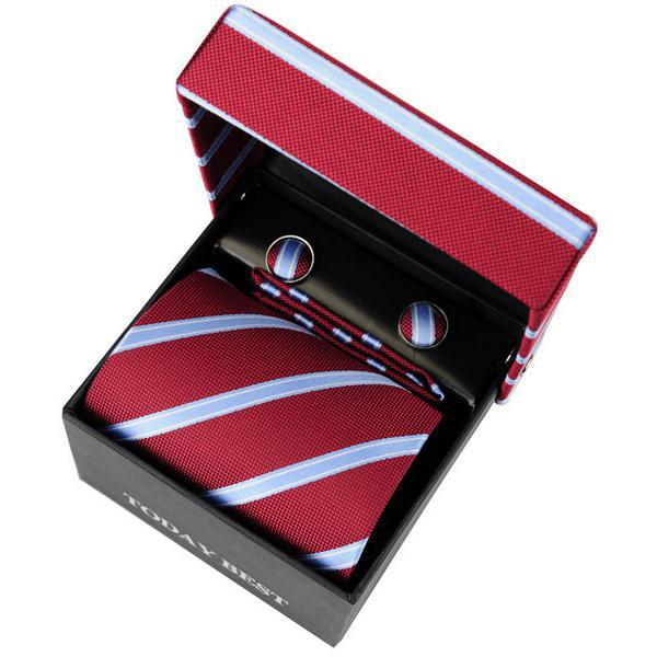 Wholesale Hot selling Men's necktie today best red Striped Korean Silk with original package  T029