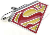 Wholesale Cufflinks for men Superman Logo Film series Jewelry Cufflink Cuff link mens Fashion Accessories