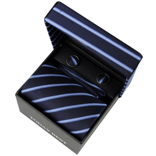 Wholesale High quality Men's necktie today best deep blue Striped Korean Silk with elegant package T010