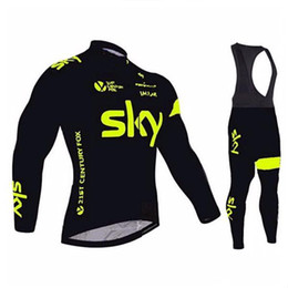 2016 Pro Maillots Tour de Francia Equipo de manga larga de desgaste de la bicicleta para el otoño Ninguno Pantalones Fleece / Invierno Fleece Bicicleta Ropa + Negro Bib desde pro invierno baberos de ciclismo fabricantes