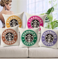 Wholesale Cushion Cotton Linen Pillow Cases Starbucks Floral New Home Fashion Sofa Decoration Covers Modern Simple Pillow Cases