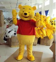 Costume adulte de mascotte de bande dessinée adulte Winnie l'ourson ours Fancy + S / H libre + robe de Halloween Halloween Adulte comprenant la tête, le costume de corps, les gants