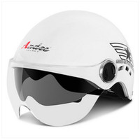 bicycle badge - E Vintage Andes S ABS Ultralight Scooter Bicycle Motorbike Motorcycle Gloss White Star Badge Helmet UV Two Lens Adult Summer Casco