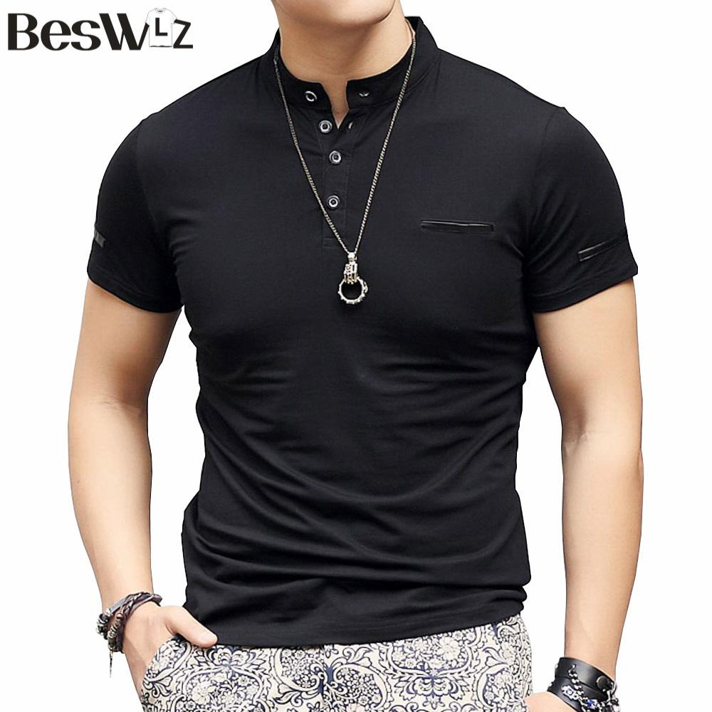 2017 Beswlz Summer Cotton Short Sleeve Mandarin Collar Men T ...
