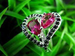925 Silver Heart shine genuine double garnet Topaz gemstone rings