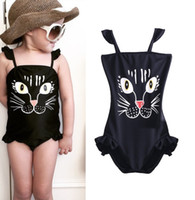 Wholesale Hot Summer Baby Toddler Girls Kids Lovely Cat Beachwear One piece Swimsuit Swimwear Bathing suit clothing Y
