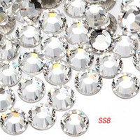 Wholesale Chinese top AA quality nail mobile art glitter rhinestone tips round SS8 crystal tips pc