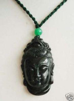 Wholesale Tibet Black Jade Guanyin Head Pendant necklace carving pc