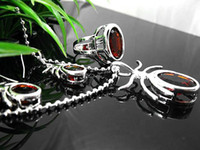 Wholesale Gorgeous Silver set Twilight Fire Ruby Gemstone Necklace earrings rings sets