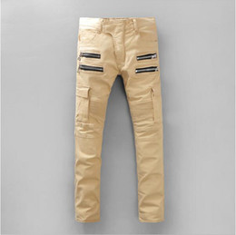 Wholesale Original Quality New Release Balmain Cotton Denim Cargo Pants Biker Jeans Khaki Double Zipper Man Both Sides Large Pockets Biker Jeans