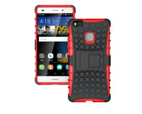 anti skid backing - For Huawei P9 Lite Case TPU PC Dual Armor Cover with Stand Holder Hard Silicone Armor Cover Shock Proof Anti Skid Combo Back Case