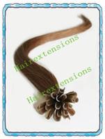 Wholesale 300S x quot Remy Nail tip U tip Hair Extension Hair Extensions Keratin Glue Tip Medium Brown