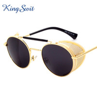 acrylic enclosures - KingSwit Luxury Steampunk Sunglasses Men Women Black Lens Hollow Metal Mesh Enclosure Sun Glasses Round Eyewear KS307