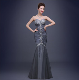 Wholesale Brand New Women Long Evening Gowns Wedding Mermaid Luxury Prom Party Dress Bling Lady Casual White Red Grey Celebrity Floor Length Ball Gown