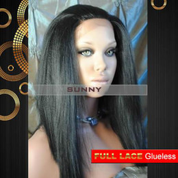 "XCSUNNY Full Lace Celebrity Hairstyle 14""-22"" Yaki Straight #1 Jet Black Human Hair Wigs Human Hair Wig Full Lace Wig Glueless"