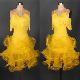 2019 Custom New Arrival Latin Dance Dress Women Yellow Green Lady Clothing For Dance Stage Costumes Tassel Dancing Dress For Women Dancewear