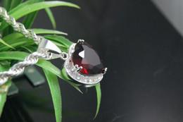 Luxury 925 Silver Unique Dark Ruby Heart designed Gemstone Necklace fit FREE BOX