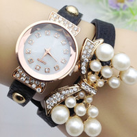 auto auger - Gifts for girl bow bracelet watch han edition fashion set auger women pearl watch lady dress watch Famous Brand full diamond Jewelry