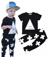 baby games boys - NWT New cute Baby Girls Boys Outfits Set Summer Sets Boy Cotton Tops Shirts Vest Harem Pants Cross piece sets Game changer