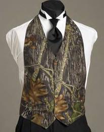 Cheap Sale Camo Mens Wedding Vests Outerwear Groomsmens Vests 2020 Realtree Spring Camouflage Slim Fit Mens V Neck Vests