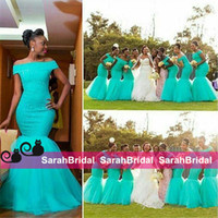 Wholesale Cheap Turquoise Mermaid Bridesmaid Dresses African Off Shoulder Long Beach Vintage Wedding Guest Gowns Lace Party Arabic Maid Of Honor Wear