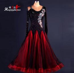 2019 High Quality Custom Made Red Rhinestone Ballroom Dance Dress Lady Dress Ballroom Standard Dance Women Viennese Waltz Dress