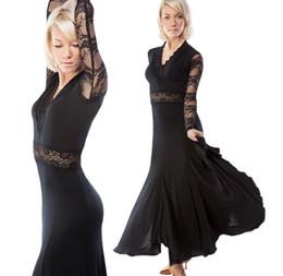 2019 Free Shipping Ballroom Competition Dance Dress Lady Dress Black Ballroom Standard Dance Women Viennese Waltz Dress Dancewear