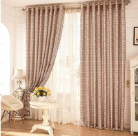 Wholesale Cotton and linen rural Mediterranean lattice Window Blackout Curtains for Living Room the Bedroom Kitchen MD0010