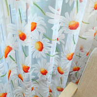 Wholesale Hot Selling Daisy chrysanthemum Print Sheer Curtain for Window Balcony SH002