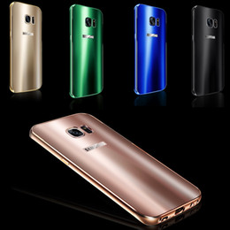 Wholesale S7 edge Bling Aluminum Alloy Oxidation Frame Phone Case For Samsung Galaxy S7 S7edge g930 g930f Colorful Acrylic Back Cover For Galaxy S7