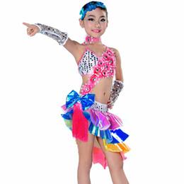 Girls Dance Costumes 4pcs(Dress&Tire&Necklace&Hand Cuff) Latin Girl Dance Dress Kids Ballroom Dresses Dancing Children Dress