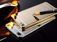 aluminum cover plate - Xiaomi Note Luxury Gold Plating Aluminum Alloy Oxidation Frame Acrylic Back Cover For Xiaomi Mi Note Mi Note Pro inch Mirror Case