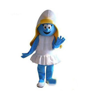 Wholesale 2016 New Adult Size Smurfette Mascot Costume Adult Character Costume mascot costume