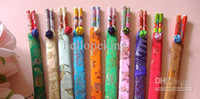 Wholesale 200PCS CHINESE HANDMADE BAMBOO CHOPSTICKS amp SILK COVERS Wedding party supplies