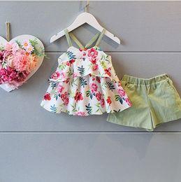 Wholesale 2016 Baby girl kids Summer Clothes piece set outfits Sleeveless floral tutu tops shirt vest blouse belt dress shorts pants Beautiful