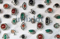 Wholesale Ring Jewelry Jade amp black cz amp Tibet silver P Rings Jewelry M2