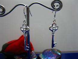 Fashion jewelry 925 Silver Keys dangle earrings 100% brand new
