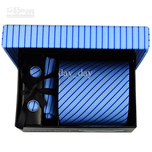 Wholesale Elegant men's necktie today best pure blue twill pattern 100% Korean Silk tie gift box A109
