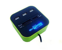 Wholesale COMBO Card reader USB HUB High speed USB Blue led light all in one card reader with usb hub