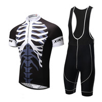 Wholesale Skeleton Logo Bike Cycling Jerseys Quick Dry Compressed Short Biker Clothing with Tops Suspender Pants for Adult dtz05