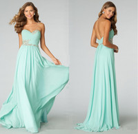 Wholesale Teal Turquoise Crystal Beads Chiffon Long Bridesmaid Party Dresses Sexy Backless A Line Sweetheart Pleats Formal Prom Honor Gowns