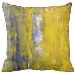Curious grey and yellow abstract art pillow 50% cotton and 50% linen material color as shown 16x16inch 18x18inch 20x20inch