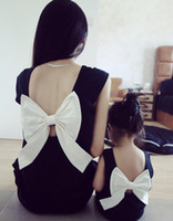 Wholesale 2016 Summer Family Look Matching Mother Daughter Girl Clothes Outfits Mom And Daughter Dress Bow Backless Black Dresses