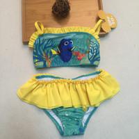 Wholesale 2016 Girls Pixar Finding Dory Nemo Two Piece Bikini Baby Kids Cartoon Tutu Dress Swimsuit Summer Children Beach Bathing SPA Swimwear