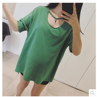 Wholesale Summer New Maternity Clothes Women Loose Tshirts Sexy Cotton Tops Short Sleeved
