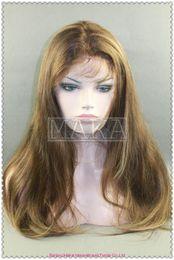 Wholesale full lace wig100 indain human hair highlight inch silk straight MAKA101